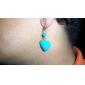 Femme Boucles d'oreille goutte Amour Cœur Gemme Turquoise Forme de Coeur Bijoux Pour Soirée Quotidien
