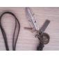 Lureme®Unisex Feather Cross Leather Pendant Adjustable Necklace