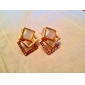 Opals Cube Shape Alloy Earrings
