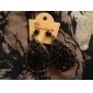 여성을위한 빈 물 드롭 스타일의 복고풍 귀걸이 (블랙)