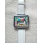 Frauen-tv Muster Quadrat Fall pu-Band Quarz-Armbanduhr (farblich sortiert)