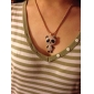 Women's Stainless Steel Chain Necklace with Crystal and Coloured Glaze Panda Pendant