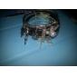Lureme®Black Leather Alloy Pearl Bracelet(7 Pcs)