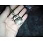 große Eule mit vielen Federn von Unisex-Legierung Analog Quarz Schlüsselbund Uhr (Bronze)