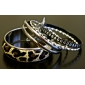 Lureme®Leopard Grain Wide Alloy Bracelet Set