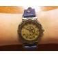 Frauen Vintage Gold Dial PU-Leder-Band-Quarz-Analog-Armbanduhr (Assorted Colors Band)