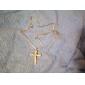 för män legering diamant inläggningar kors halsband (silver)