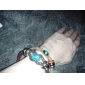 Lureme®Handmade Vintage Multi Strand Blue Amber Bead Charm Leather Wrap Bracelet
