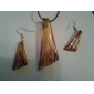 Streamline Pattern Golden Vaidurya Necklace and Earring