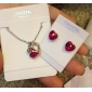 Heart Earrings & Necklace Jewelry Set