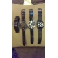 Men's Military Style 2 Time Zones Round Case PU Band Quartz Wrist Watch (Assorted Colors)