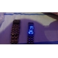 Black Metal Strip Digital Lava Style Iron Sport Couple Blue LED Faceless Wrist Watch