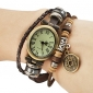 Women's Vintage Style Copper Cash Pendant Brown Leather Band Quartz Bracelet Watch