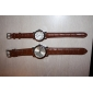 par unisex pu analog kvarts armbåndsur (brun)