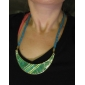 Eruner®Bohemia Style Fabric Acrylic Crescent Pattern Necklace