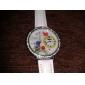 여자의 꽃 작풍 PU 아날로그 석영 손목 시계 (화이트)