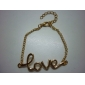 Love Heart Charm Womens Link Chain Bracelet With Clasp