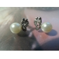 Earring Stud Earrings Jewelry Women Daily Pearl / Alloy Silver / White