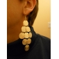Round Shape Disc Gold Plated Earrings