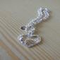 Браслет женский с серебряным покрытием и кулоном в форме сердца