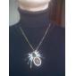 빈티지 보석으로 장식된 거미 디자인 합금 스웨터 체인 목걸이