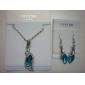 Femme Set de Bijoux Boucles d'oreille goutte Pendentif de collier Boucles d'Oreille Cristal Stras Mode Elegant bijoux de fantaisie