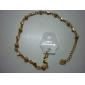 Dull polonês Bead Coração Bracelace banhado a ouro em forma