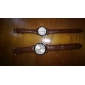 Pair of Unisex PU Analog Quartz Wrist Watch (Brown)