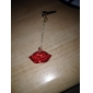 3.5mm Alloy Zircon Red Lips Pattern Anti-dust Earphone Jack