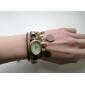 Women's Vintage Style Copper Cash Pendant Brown Leather Band Quartz Bracelet Watch