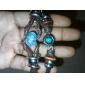 Lureme®Handmade Vintage Multi Strand Blue Amber Bead Charm Leather Wrap Bracelet Jewelry Christmas Gifts