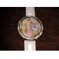 Women's 3D Flower Pattern Diamante Dial PU Band Quartz Analog Wrist Watch (Assorted Colors)