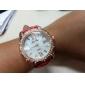 Mulheres Relógio de Moda Quartzo PU Banda Brilhante Branco Marron Vermelho Verde Azul Rosa claro