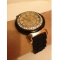 체코다이아몬드 장식이있는 블랙 블루 실리콘밴드 쿼츠 무브먼트 손목시계