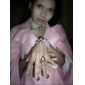 Gem Pink Flower Motif Lace Bracelet blanc perle
