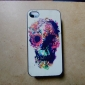 Flower Decorated Skull Coloured Drawing Pattern Black Frame PC Hard Case for iPhone 4/4S
