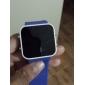 Reloj Pulsera de Espejo LED de Pantalla Cuadrada Con Correa de Caucho Traslúcido - Azul