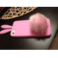 Silicone Soft Case with Rabbit Ears and Fluffy Tail Stand for iPhone 5/5S (Assorted Colors)