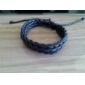 cor sólida vaca pulseira cordão de couro dos homens