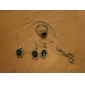 여성의 복고풍 크리스탈 에메랄드 보석 보석 세트 (귀걸이 반지와 목걸이를) lureme
