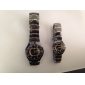 Couple's Black & Gold Alloy Quartz Analog Wrist Watches (1-Pair)