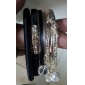 Lureme®Black Leather Alloy Pearl Bracelet(7 Pcs)