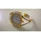 Quartz analoog damesarmbandhorloge met elegante diamanté wijzerplaat (goudkleurig)