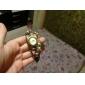 reloj de pulsera de cuarzo de la venda de cuero colgante de caja de cobre marrón estilo vintage de la mujer