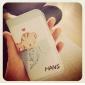 iPhone 4/4S를위한 만화 물고기 고양이 본 가죽 단단한 상자