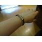 pulsera de cuero de eruner®men con cinco anillos de acero de titanio (negro)