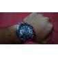 Men's Water-Resistant Black Dial Silver Alloy Band Quartz Analog Chronograph Wrist Watch