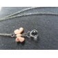 Lureme®Pink Bowknot Crystals Necklace