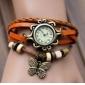 Women's Butterfly Pendant Leather Band Quartz Analog Bracelet Watch (Assorted Colors)