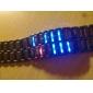 conduit affichage binaire alliage noir de montre-bracelet des hommes